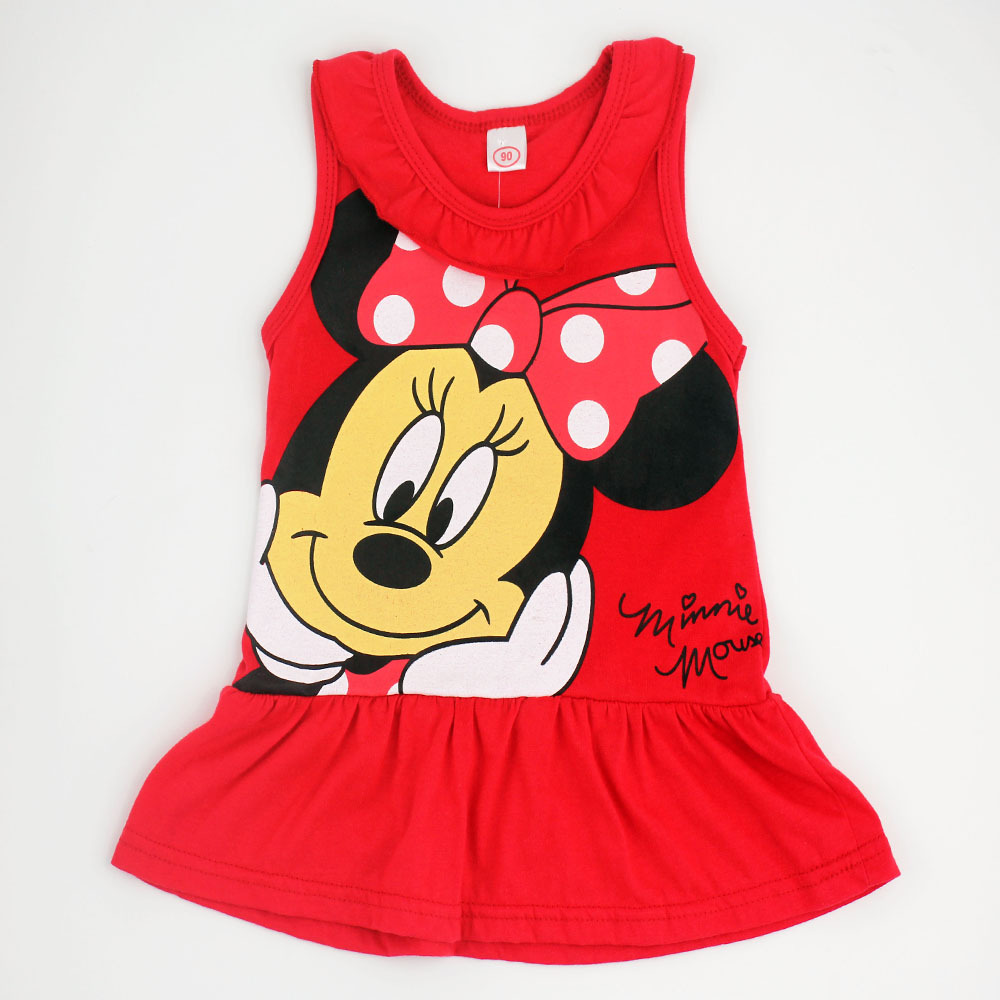 2015 Spring Summer Minnie Children Cute Princess Dresses Baby Girl Dress Fashion Cartoon Clothing 2 Colors Pink Red(China (Mainland))