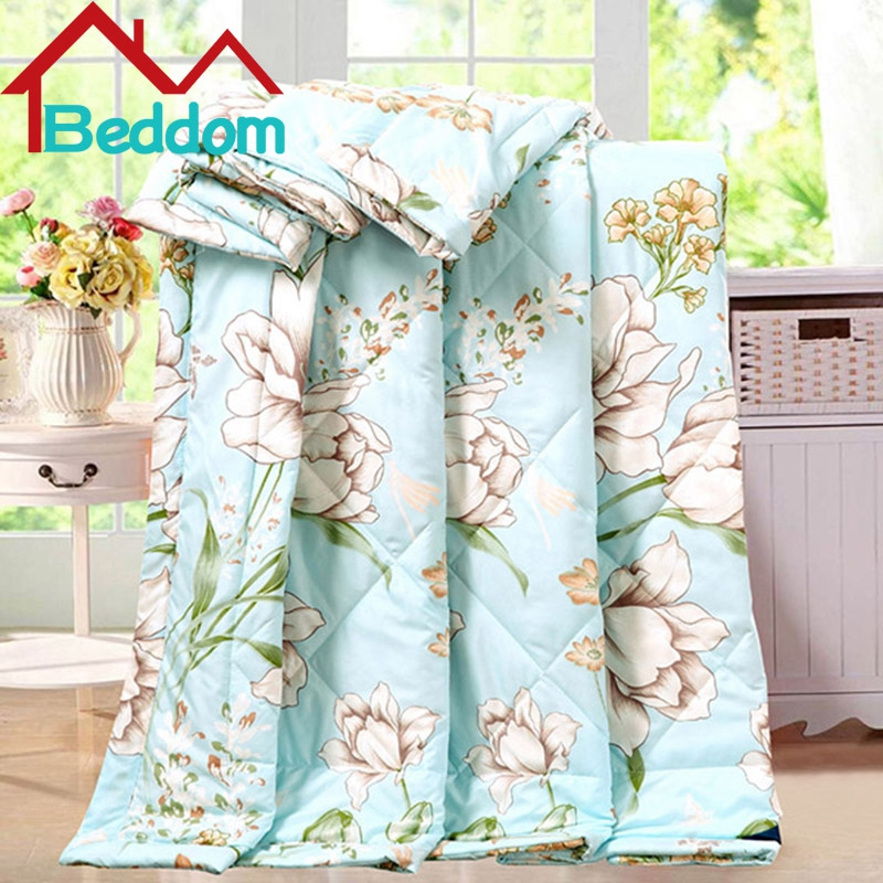 Beddom Pretty Graceful Water Lily Print Polyester Summer Air Conditioning Quilt Comforter Home Decor Bedding Cool To Breathable(China (Mainland))