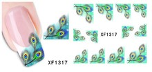 Hot Sale XF1317 Japanese Style Watermark Nail Art Sticker 3D Design Cute Green Feather Water Transfer