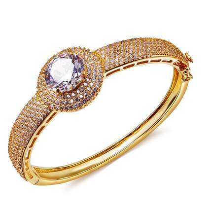 Mansaku French Designer Cubic Zircon Deluxe Women Clear Big Stone Bangles Lead Free 18K Gold Plated Bohemian(China (Mainland))