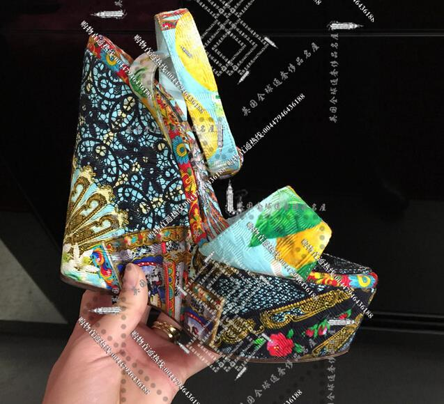 Здесь можно купить  2015 new floral wedge sandals shoes, fish head high with shoes waterproof shoes womans shoes  Обувь