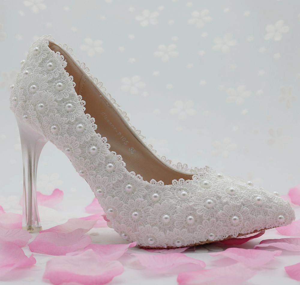 women fashion White flower lace wedding shoes pearl shoes bridal shoes princess single shoes women pumps high heels large size41