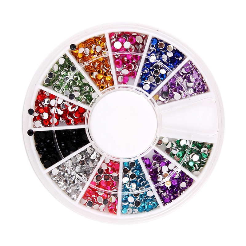 1.5mm 12 Color Diamond Nail Art Styling Tools Decorations Glitter Rhinestones Jewelry DIY Dress Bag Cell Phone Case wholesale(China (Mainland))