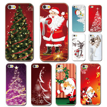 For Iphone 6 4.7 inch New Plastic Cover Shell Christmas Tree Santa Claus Gift Snowman Phone Skin Case Cover