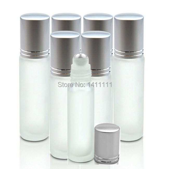 Wholesale 700pcs 10ml Frosted Glass Roll On Essential Oils Perfume Bottles W/ Stainless Steel Roller Ball BY DHL Free Shipping(China (Mainland))