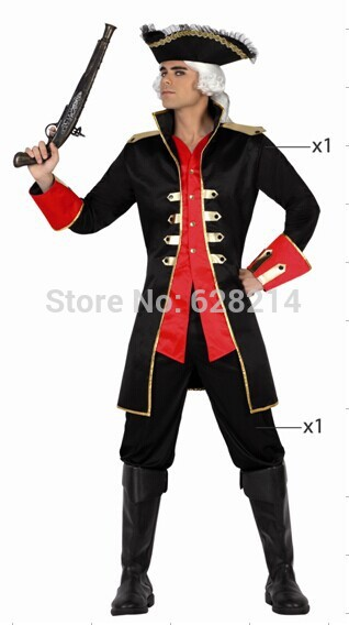 Free shipping- 2016 New Fashion Party Clothing Style Carnival Cosplay Costume for Men Knitted Period Costumes Black Color(China (Mainland))