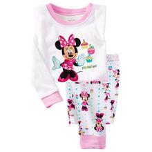 Lovely Cartoon 2015 Tops Pants Suit Baby Girls Nightwear Pajamas Homewear
