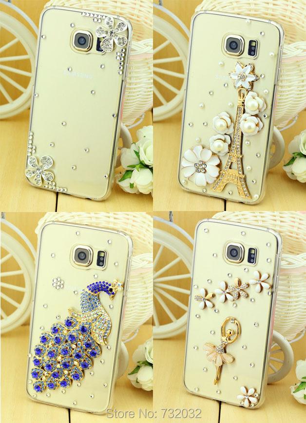Bling Peacock Bow Case Cover For Samsung Galaxy S6 Edge 3D Luxury Rhinestone Diamond Daisy Eiffel Zebra Ballet Phone Case Cover(China (Mainland))