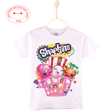 2016 New Arrival Shopkins Kids T-Shirt Tops Cotton 4T-12T Children Streetwear Camiseta Unisex Boy And Girls Shirt Free Shipping