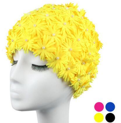 Bathing Cap Women 3D Petals Flower Women Swimming Caps for Long Hair Printed Swimming Cap 2016 Hot New Design(China (Mainland))