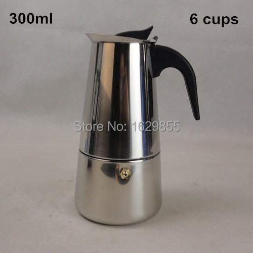 New 6 Cup 300ml Stainless Steel Moka Espresso Latte Percolator Stove Top Coffee Maker Pot(China (Mainland))