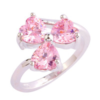 lingmei Alluring Sweet Heart Cut Pink Sapphire  Silver Ring Fashion Popular Women Gift Size 6 7 8 9 10 Free Ship Wholesale