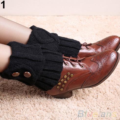 Women Winter Leg Warmers Socks Button Crochet Knit Boot Socks Toppers Cuffs 1SXT
