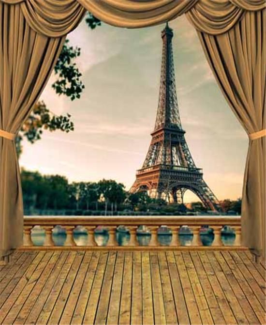 Vintage Eiffel Tower Curtains Wood Floor Scenic Vinyl 1