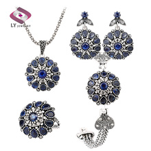 Sapphire 4 Pcs Jewelry Sets Silver Plating Round Vintage Flower Crystal Ring Earring Bracelet And Pendant Necklace Set(China (Mainland))