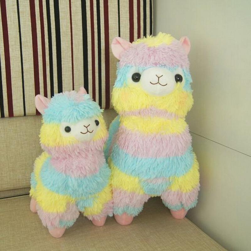 Rainbow 1* Alpaca Vicugna Pacos Plush Toy Japanese Soft Plush Alpacasso Baby Plush Stuffed Animals Alpaca Gifts 35cm and 45cm(China (Mainland))