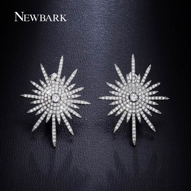 NEWBARK Glittering Star Stud Earrings Paved Cluster Of CZ Diamonds 18k White Gold Plated Silver Tone Earring Jewelry For Female(China (Mainland))