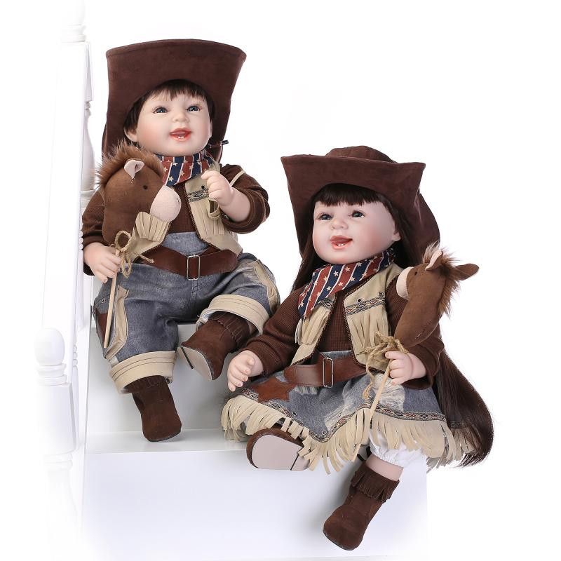 High End Quality 55cm 22'' Lifelike Baby Dolls For Children With Very Cool Cow Boy Clothes New Design Girl Reborn Toddler Doll(China (Mainland))