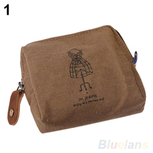 Classic Retro Canvas Tower Wallet Card Key Coin Purse Bag Pouch Case 4 pattern for Women