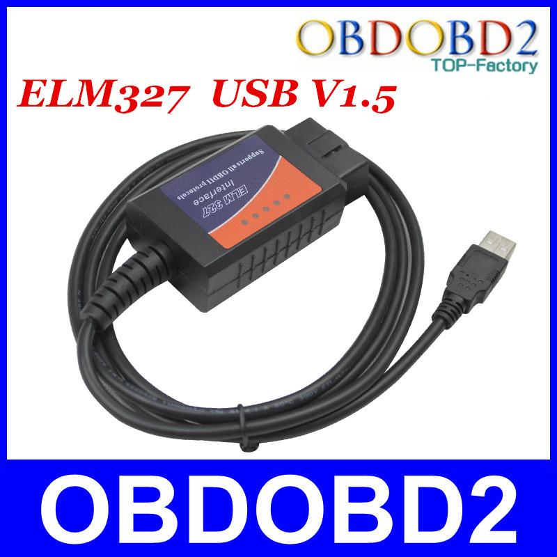 Whole Sale ELM USB Plastic Interface Auto OBD/OBDII CAN-BUS Diagnostic ELM327 V1.5a ELM 327 Scanner CNP Free<br><br>Aliexpress