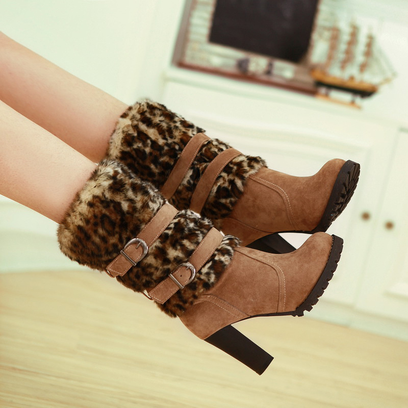 2016 New British Style Women Square High Heel Middle Tube Boots Winter Shoes Leopard Style Warm Plush Snow Boots Size35-43 ZK3.0(China (Mainland))