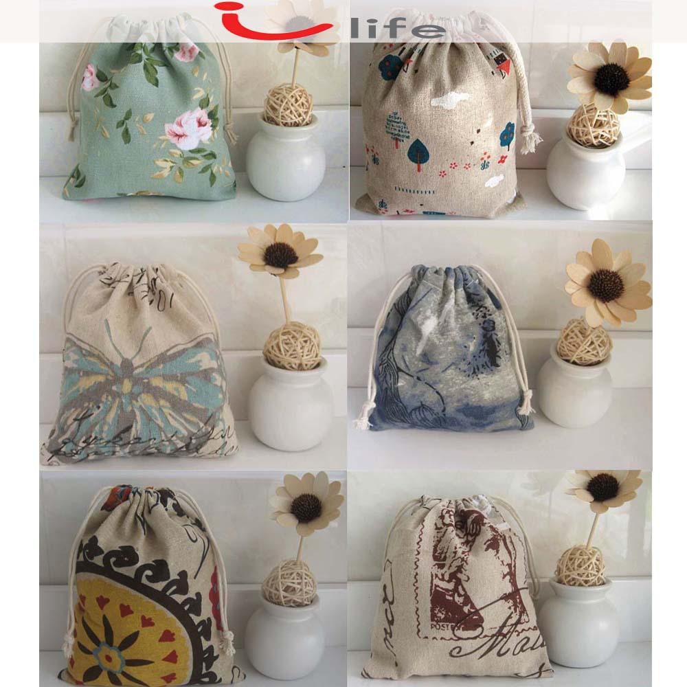 2pcs/lot Zakka Cotton and Linen Fabric Printing Jewelry Storage Bags Gift Drawstring Jute Bag Travel Organizer Makeup Bag(China (Mainland))