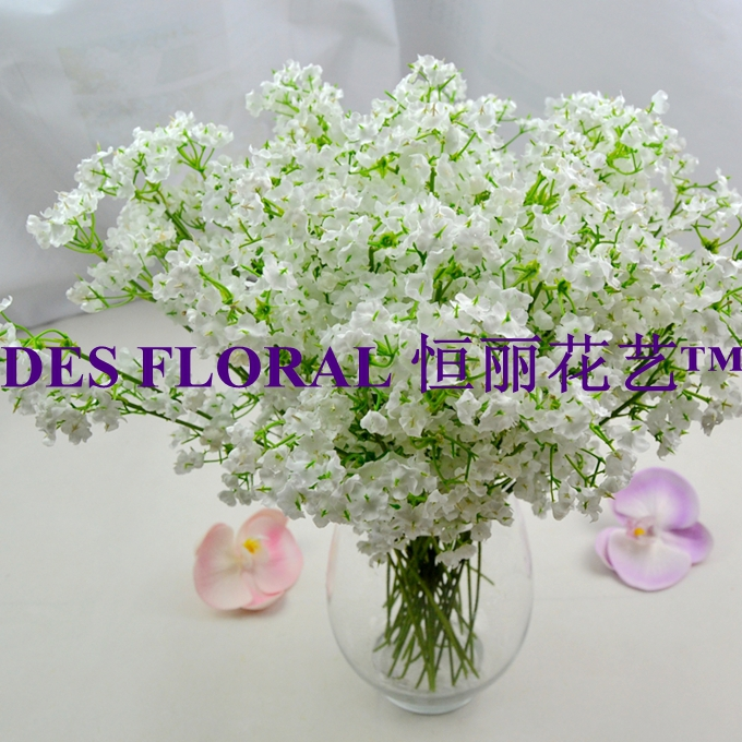 Decorative Flowers 70 heads Artificial Silk Baby Breath 10PCS/Lot for Bridal Bouquet and Wedding Decoration(China (Mainland))