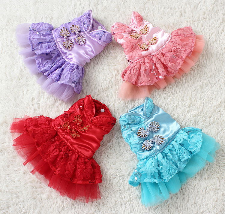 2015 New Spring Summer Design Dog Cat Dress 100% Cotton Pet Clothes Party Dog Dress Four Color Available Promotion Dress(China (Mainland))