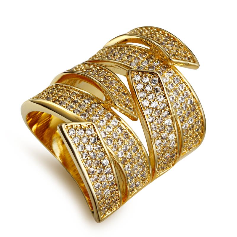Mansaku Binding Design Womens CZ Party Rings High Quality Cubic Zircon Pave Setting Long Cocktail Ring 18K Gold Plated(China (Mainland))