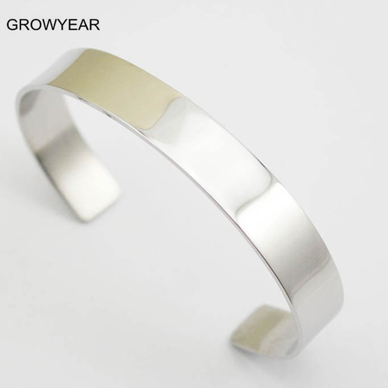 Wholesale Bulk Unisex Blank Metal Cuff Bangles Bracelets 316L Stainless Steel Plain Shiny Silver Bangles For Men Women(China (Mainland))