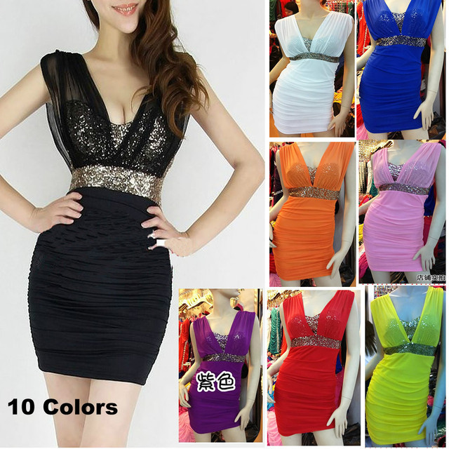 2015 New Fashion Women Sexy Paillette Sequined Deep V Neck Bodycon Summer Dress Sexy Mini Sleeveless Club Party Dresses 2305