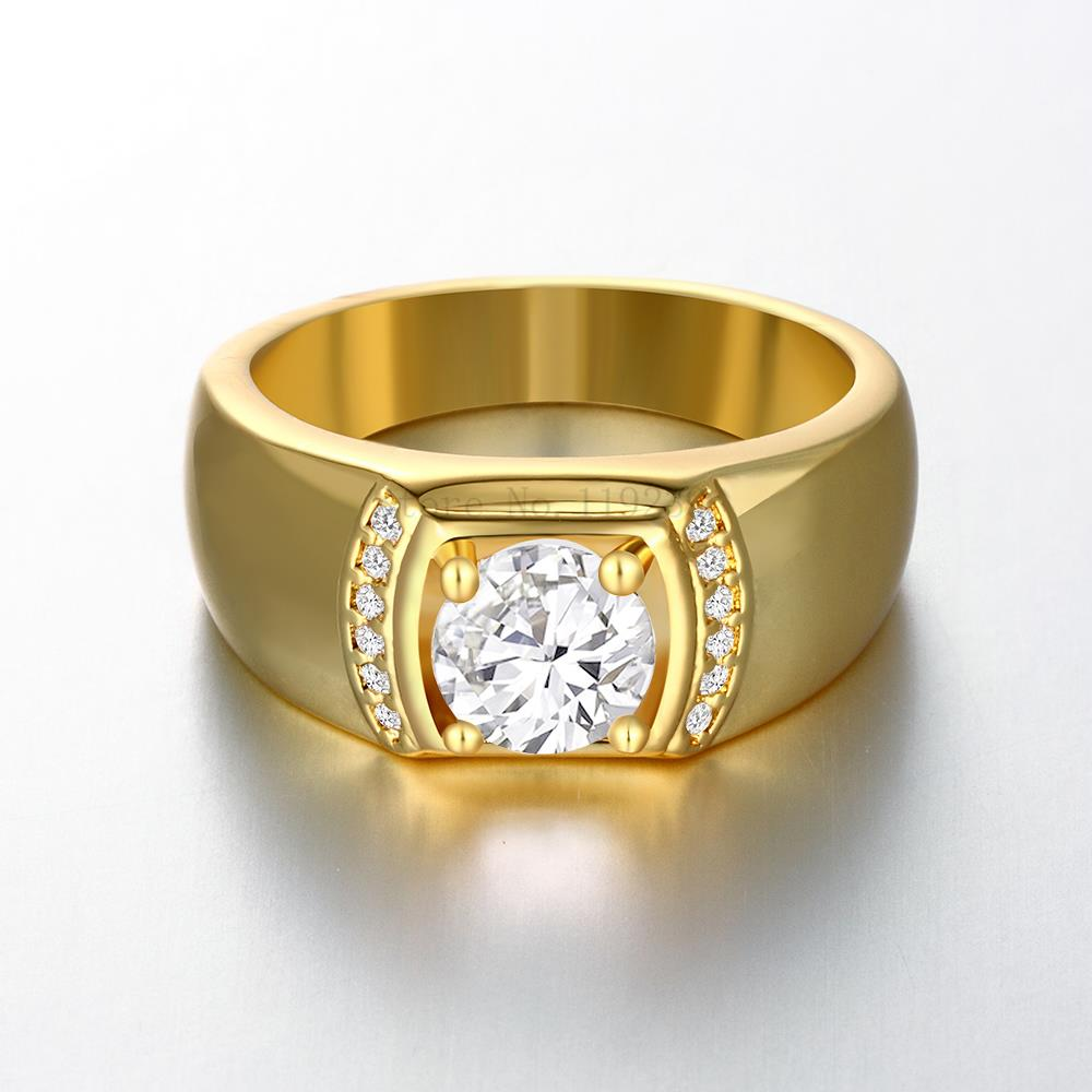 ZR125-A-8 Top Quality 24K Yellow Gold Color Men Crystal Stone Ring Hot  Items Male 2015 New Fashion Jewellery Accessories
