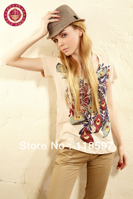 Fashion export trade clothing T-shirt wholesale, the new arrival summer 100% cotton women's short-sleeved printe T-shirt cotton