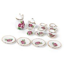 New Arrivals 2015 15pcs Dollhouse Miniature Ware Porcelain Tea Set Dish Cup Plate Chinese Rose Free Shipping(China (Mainland))
