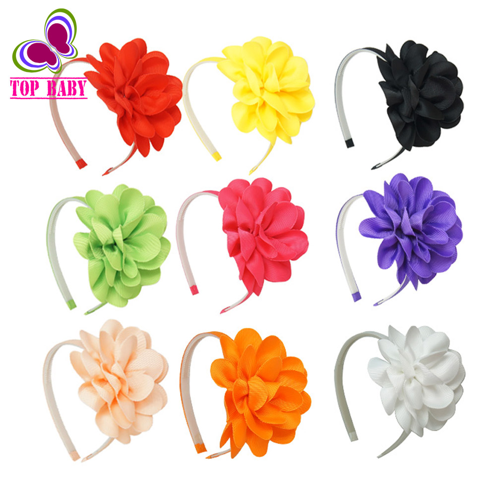High Quality Grosgrain Flower Hair Bands With Big Bow For Girls Solid Ribbons Headband Hair Accessories For Babies(China (Mainland))