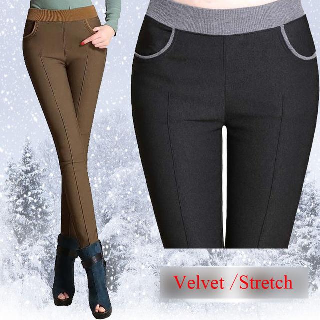 2016 зима женщины стретч повседневная хлопок брюки Плюс размер 6XL 5XL густой шерсти ...
