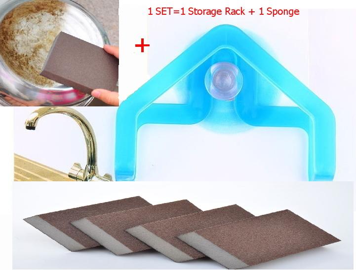 Best Price  Storage Rack +Sponge  2pcs/set Free Gift Kitchen Nano Emery Magic Clean Rub the pot Except rust Focal stains Sponge(China (Mainland))