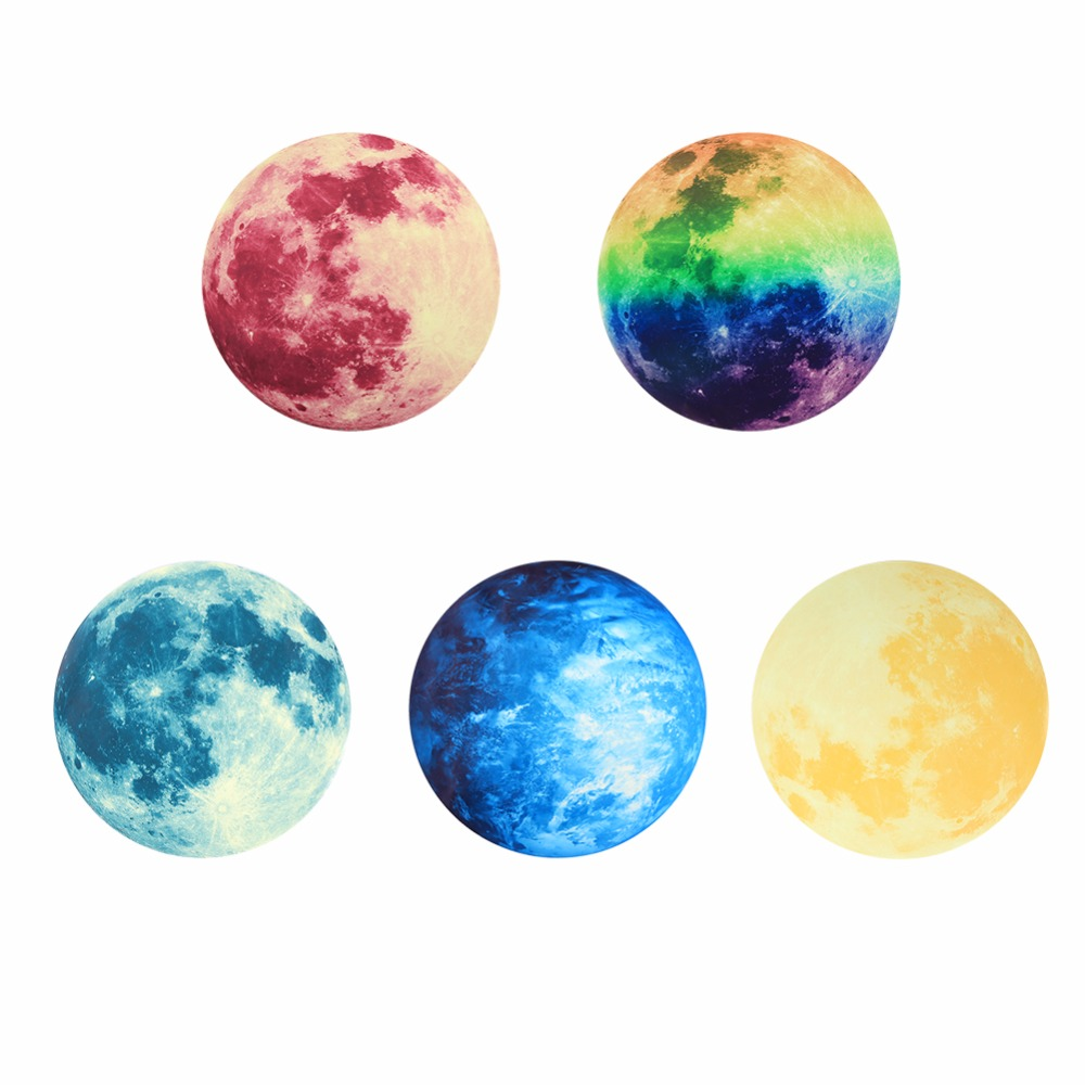 Creative 5 Patterns 30cm Planet Wall Sticker Moonlight DIY Children's Room Decorative Luminous Moon Earth Wall Stickers(China (Mainland))