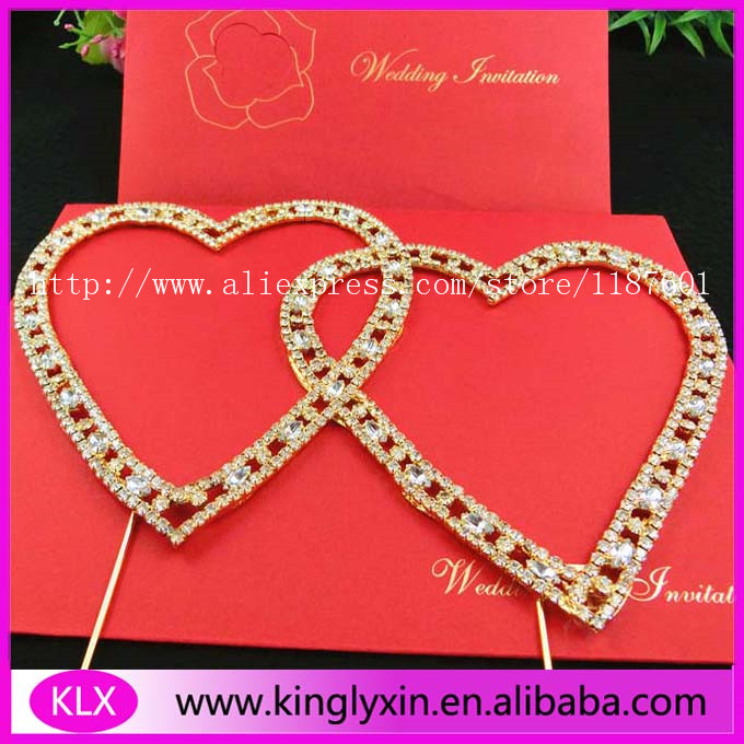 Gold plating double heart rhinestone cake topper for wedding cake decors(China (Mainland))