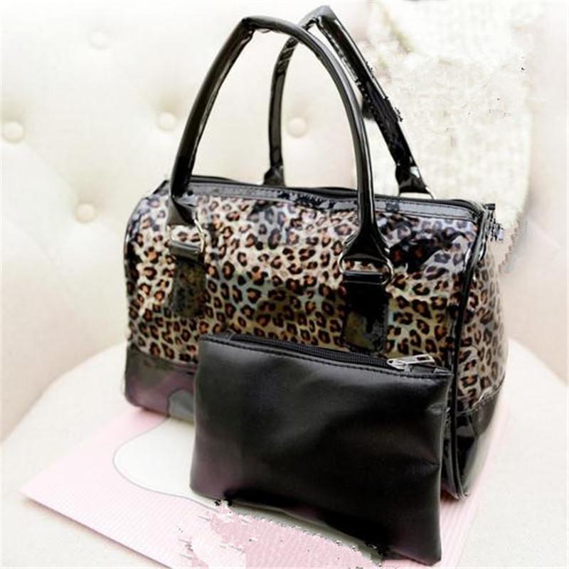Summer candy jelly casual leopard composite bag 2015 women candy designer handbag transparent sandy beach bags women hand bag 5(China (Mainland))
