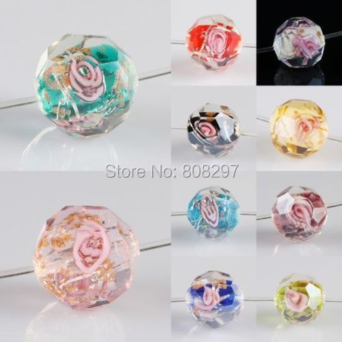 11mm Mixed Color Round Flower Faceted Lampwork Glass Crystal Spacer Beads 100pcs