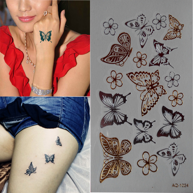 2015 Wholesale small waterproof temporary body art butterflies silver tattoo stickers A-24(China (Mainland))