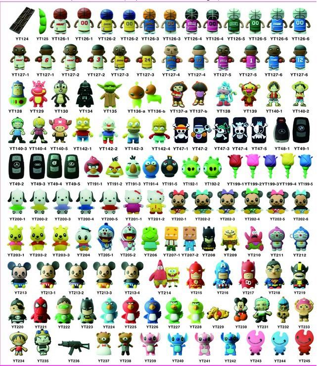 Wholesales 10 pcs/lot new cartoon mixed models usb 2.0 memory stick pen/thumb/drive/gifts (10 mixed choosing)<br><br>Aliexpress