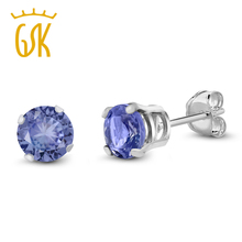 Buy GemStoneKing 0.92 Ct Round 5mm Blue Genuine Tanzanite Classic Women Stud Earrings 925 Sterling Silver Fine Jewelry for $45.99 in AliExpress store