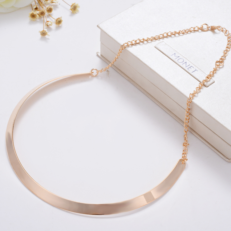 Collier Fashion Making simple shape metal texture collar Alloy necklaces 2015 New Gold Plated Choker Jewelry
