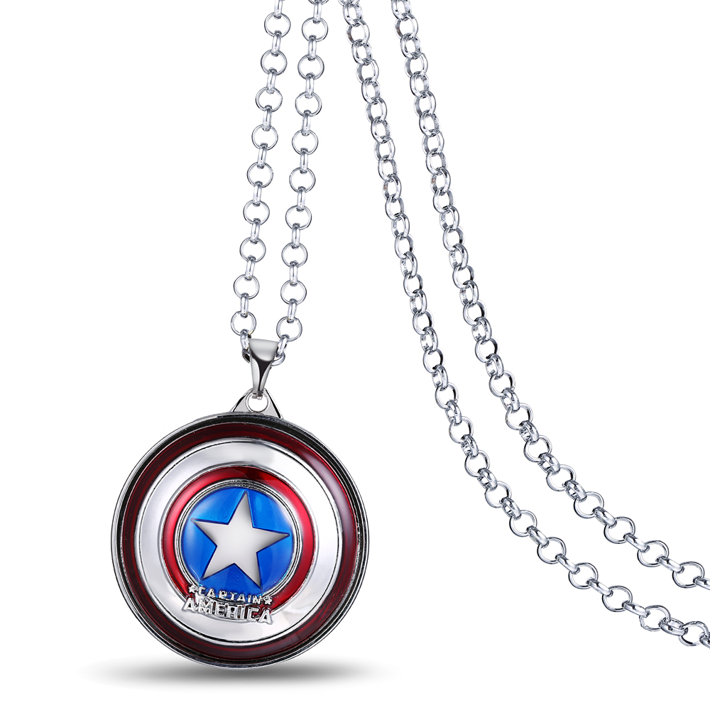 H&F 3 colors The Avengers Captain America shield rotatable charms Pendant Necklaces Chain Necklace Movie Film Jewelry(China (Mainland))