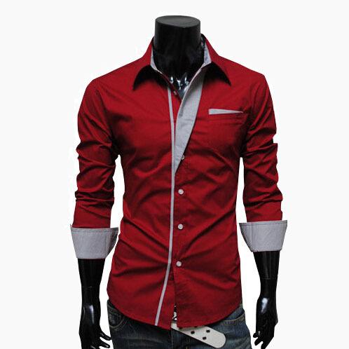 2015 Free Shipping Shirts Long Sleeved Men Shirt Red Black Navy blue white CS 2005