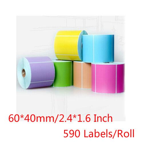6 rolos thermique autocollant 60 40 mm blank jau - Tache Colorant Alimentaire