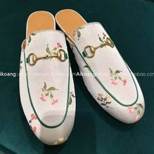 2016 New Italian Style Original Quality Genuine Leather Slip On Women Slippers Night Party Flowers Women Flats Shoes Women