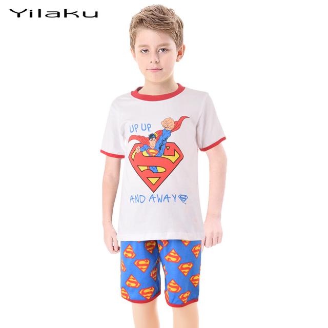 2 шт. мультфильм мальчиков девочек Superrman малыша комплект одежды ребенок супергерой пижамы комплект домашней одежды летний подарок CF210